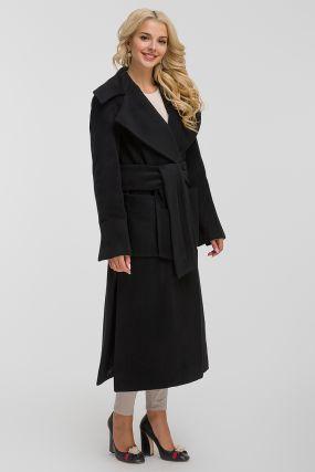 Длинное шерстяное пальто с большим воротником