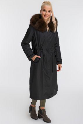 Длинное зимнее итальянское пальто на кроличьей подстежке