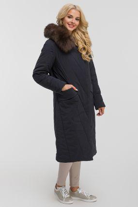 Длинное стеганое пальто на верблюжьей шерсти с песцом