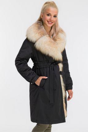 Пальто на кролике с меховым воротником из лисы