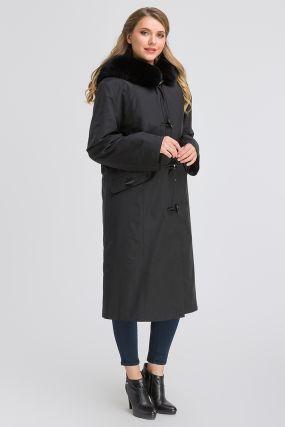 Зимнее прямое пальто на кролике для большого размера