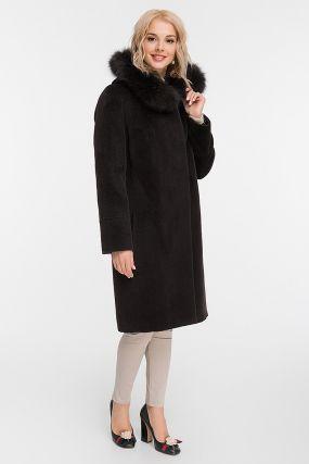 Утепленное пальто осень-зима с мехом лисы