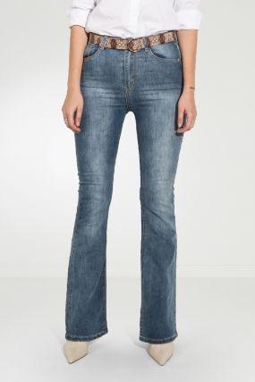 Сизые джинсы клеш