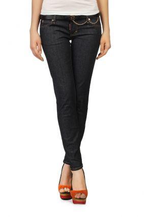 Прямые черные джинсы с аппликацией