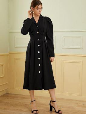 Платье с пышными рукавами и пуговицами