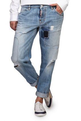 Голубые джинсы-бойфренды