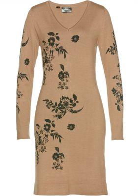 Вязаное платье в цветочек