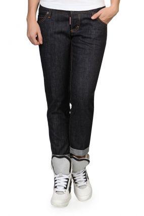 Прямые черные брюки с отворотами