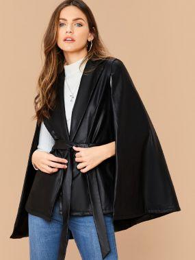 Пальто-кейп из искусственной кожи с поясом и клиновидным вырезом