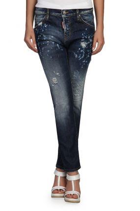 Прямые синие джинсы с декором