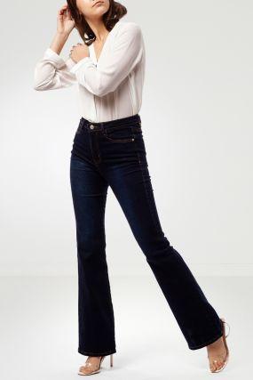 Темно-синие джинсы клеш