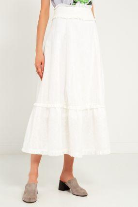 Белая юбка с воланами