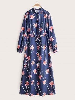 Длинное платье-рубашка с цветочным принтом