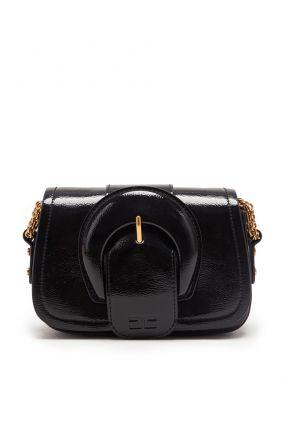 Черная лакированная сумка с пряжкой