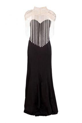 Черное платье-бюстье с кремовым болеро