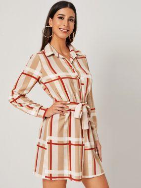 Платье-рубашка с геометрическим принтом