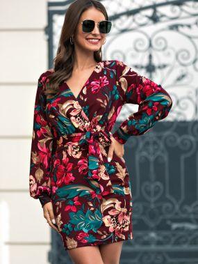 Облегающее платье с поясом и цветочным принтом