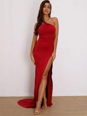 Joyfunear платье на одно плечо с разрезом