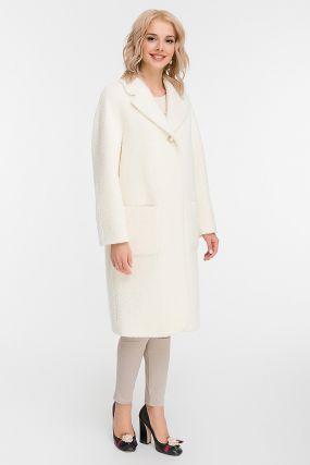 Женское пальто кокон до колена из альпака