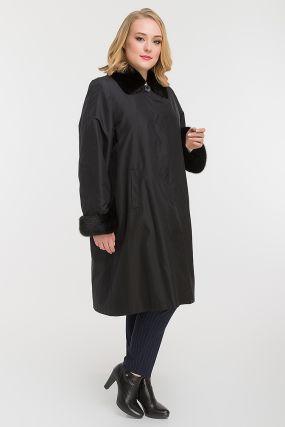Женское теплое пальто на меху кролика для больших размеров