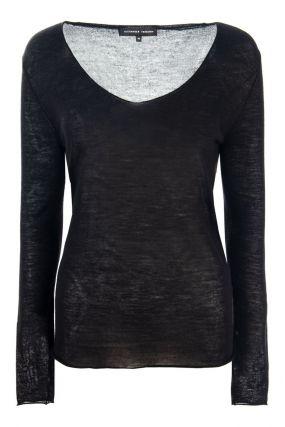 Черный тонкий пуловер