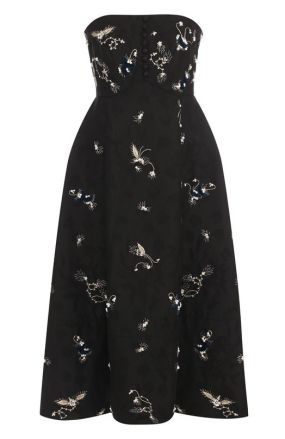 Приталенное платье-бюстье с контрастной отделкой Erdem