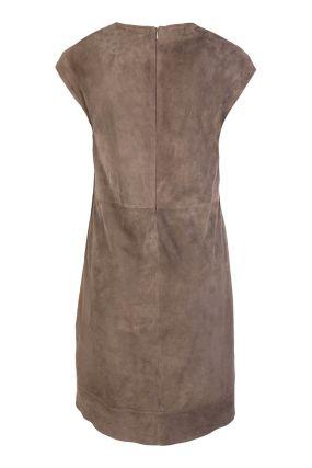 Бежевое платье из замши