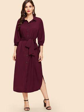 Платье-рубашка с воротник-бантом