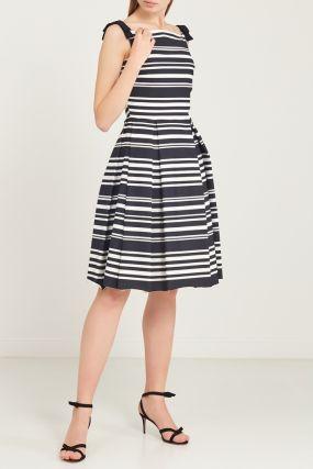 Черно-белое платье с завязками