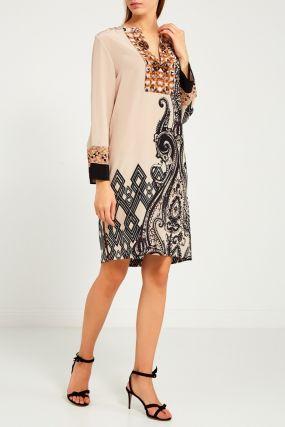 Шелковое платье с этническим принтом