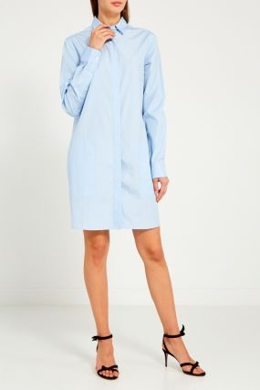 Голубое платье-рубашка из хлопка