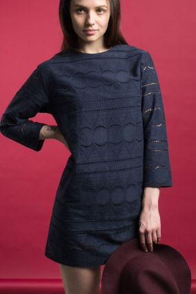Платье SQUARE кружевное синего цвета (40-44)