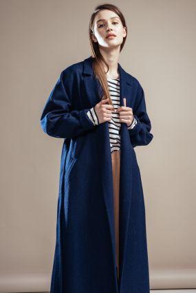 Пальто-халат Черешня с кулиской на спине из синего сукна (42-44)
