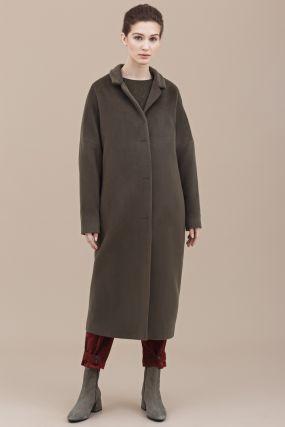 Пальто Черешня шерстяное объемный кокон мятное (38-42)