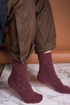 Носки TWO RAIN шерстяные винного цвета (36-42)