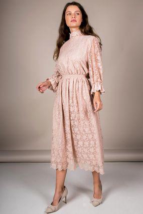 Платье Черешня кружевное с пышным рукавом пудровое (40-44)