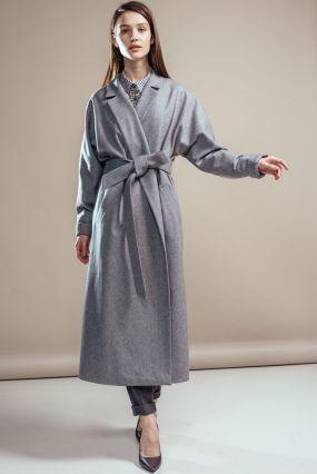 Пальто-халат Черешня с кулиской на спине из серого сукна (40-42)