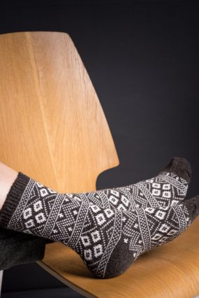 Носки STYLEHUB шерстяные высокие коричневого цвета с узорами (36-42)