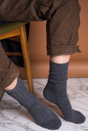 Носки BENE SOX шерстяные с высокой резинкой темно-серые (35-42)