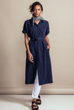 Платье-рубашка Черешня с коротким рукавом синего цвета (40-46)