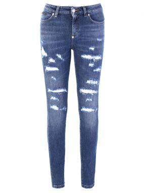 Хлопковые джинсы с потертостями