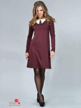Платье LILA KASS, цвет темно-бордовый, белый