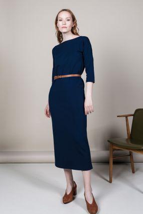 Платье MAYBE трикотаж макси синий (40-42)
