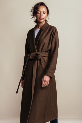 Пальто-халат Черешня с кулиской на спине из светло-коричневого сукна (42-44)