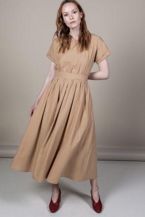 Платье Черешня с пышной юбкой и поясом с вышивкой горчичного цвета (42-46)