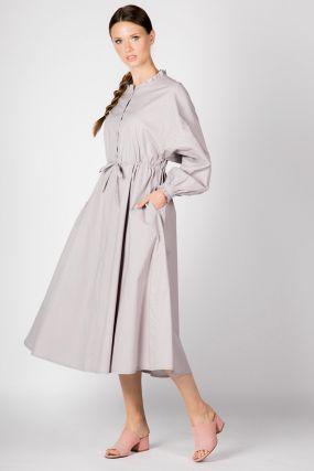 Платье Черешня фиолетового цвета в горошек с рюшами (38-42)