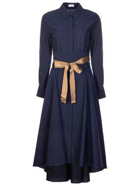Хлопковое платье-миди с поясом