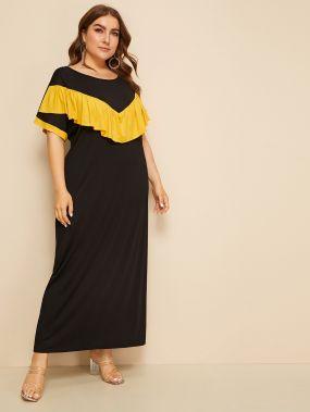 Контрастное длинное платье размера плюс с оборками