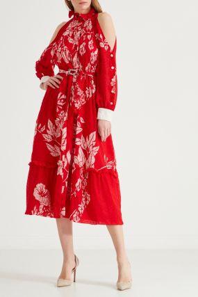 Красное платье миди с цветочным мотивом