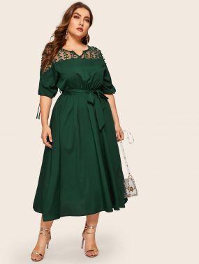 Модное Платье Миди С Кружевной Вставкой И Поясом Размер Плюс